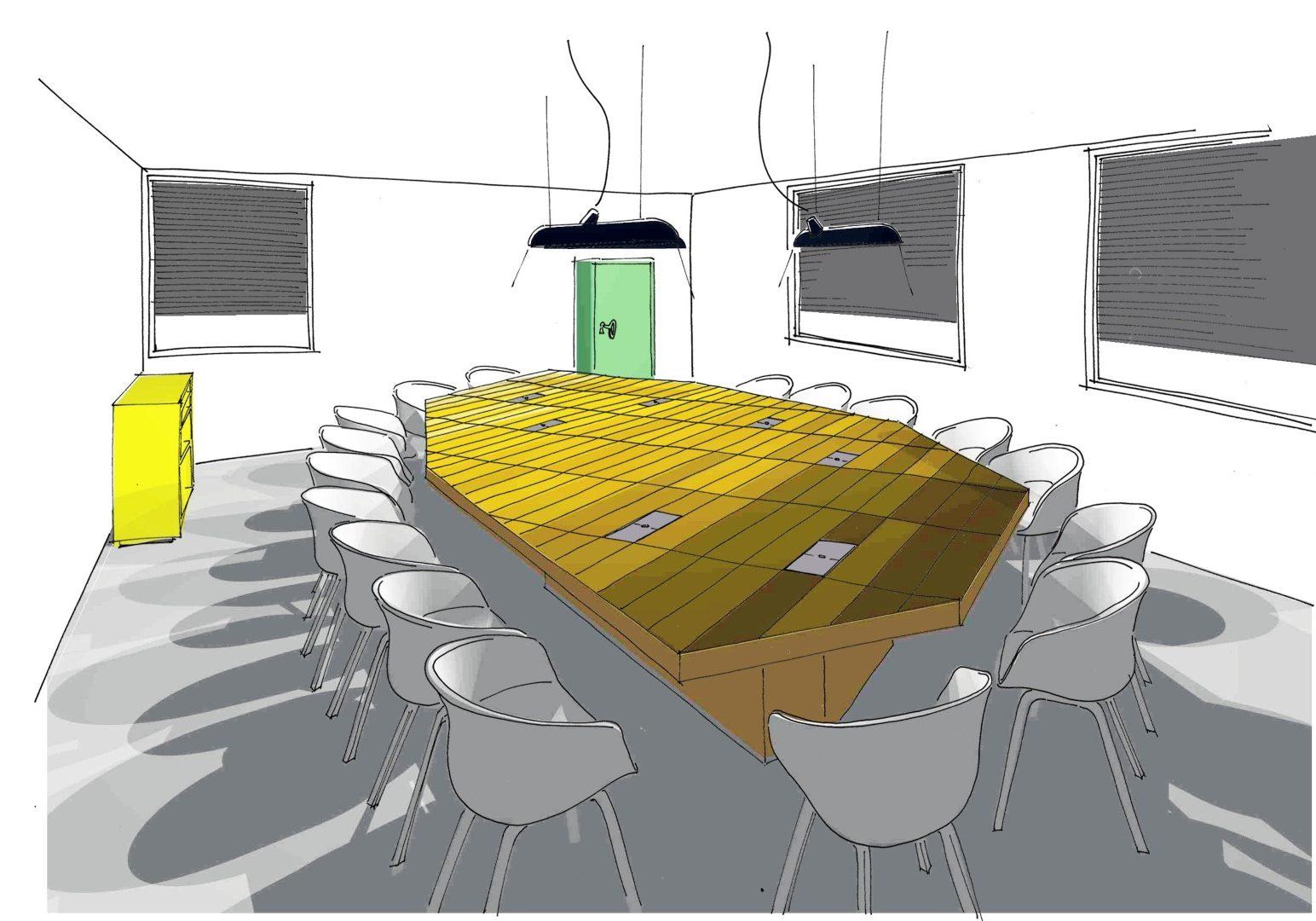 Interieur Bestuurskamer. Ontwerp gemaakt in dienst van Puur Sang Eindhoven